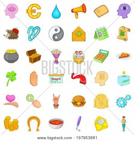 Helping icons set. Cartoon style of 36 helping vector icons for web isolated on white background