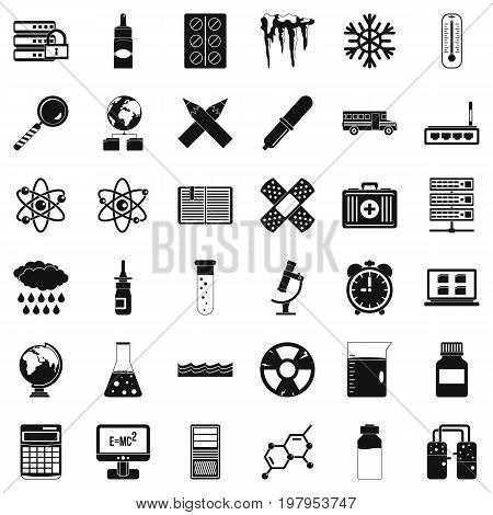 Chemistry science icons set. Simple style of 36 chemistry science vector icons for web isolated on white background