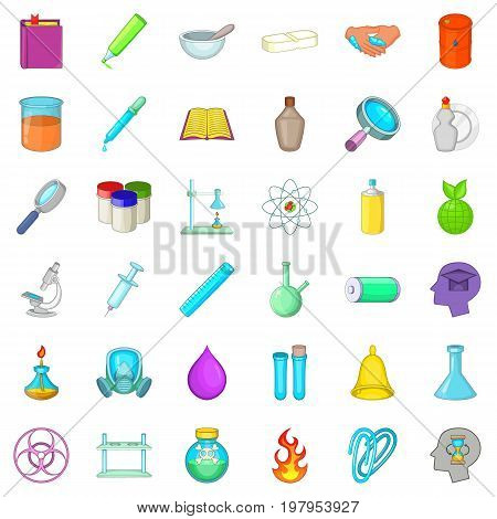 Chemistry science icons set. Cartoon style of 36 chemistry science vector icons for web isolated on white background