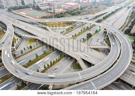 Chengdu - flyover aerial view in daylight, Sichuan province, China