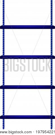 Wooden rope ladder in blue design on white background