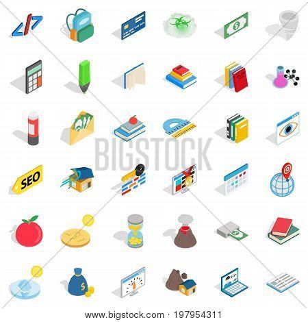 Studying chemistry icons set. Isometric style of 36 studying chemistry vector icons for web isolated on white background