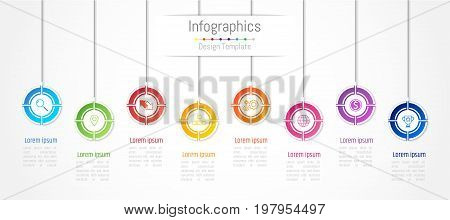 infographic; business; data; timeline; concept; option; step; process; 8; eight; creative; paper; chart; graph; graphic; icon; communication; diagram; vector; illustration; template; modern; advertisement; design; element; information; number; part; prese