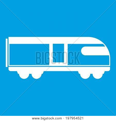 Swiss mountain train icon white isolated on blue background vector illustration