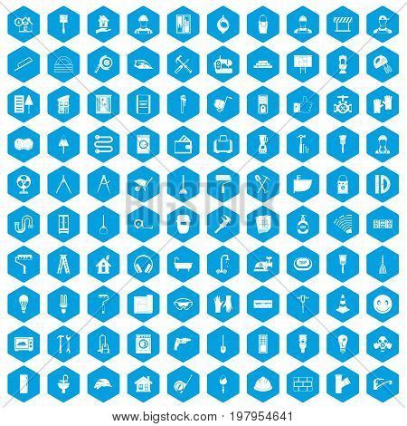 100 renovation icons set in blue hexagon isolated vector illustration