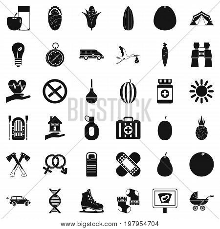 Child condition icons set. Simple style of 36 child condition vector icons for web isolated on white background