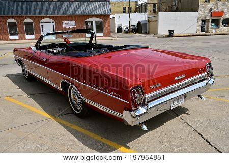 CASSELTON, NORTH DAKOTA, July 27, 2017: The annual Casselton Car Show which occurs the last Thursday of July features classic vehicles such as the restored Ford Galaxy 500 XL.