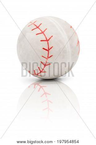 Rubble mini baseball isolated on white background with reflection