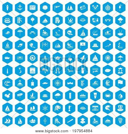 100 sailing vessel icons set in blue hexagon isolated vector illustration