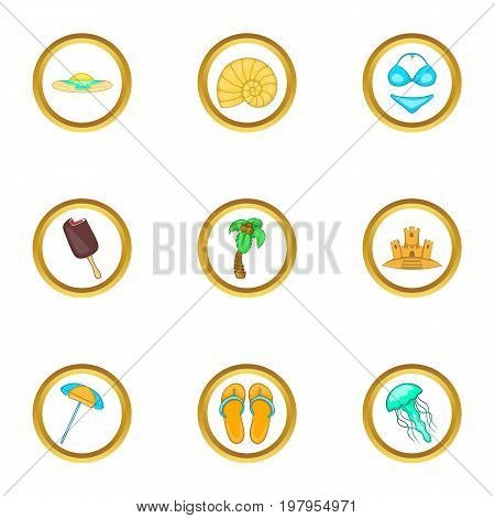 Summer trip icons set. Cartoon set of 9 summer trip vector icons for web isolated on white background