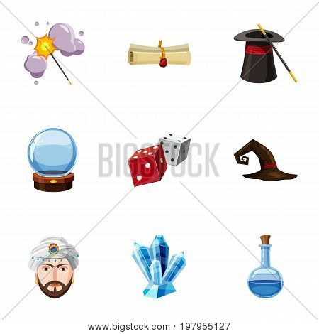 Magic show icons set. Cartoon set of 9 magic show vector icons for web isolated on white background