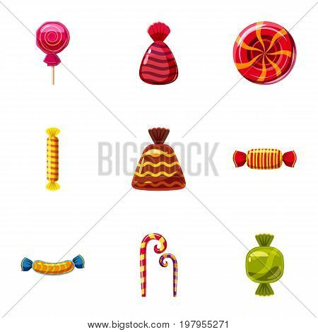 Popular sweets icons set. Cartoon set of 9 popular sweets vector icons for web isolated on white background