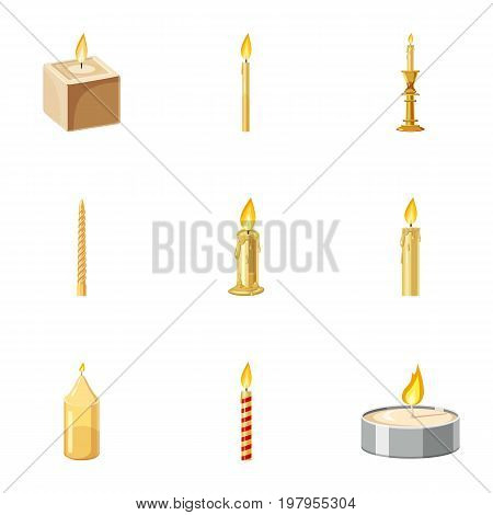 Paraffin candles icons set. Cartoon set of 9 paraffin candles vector icons for web isolated on white background