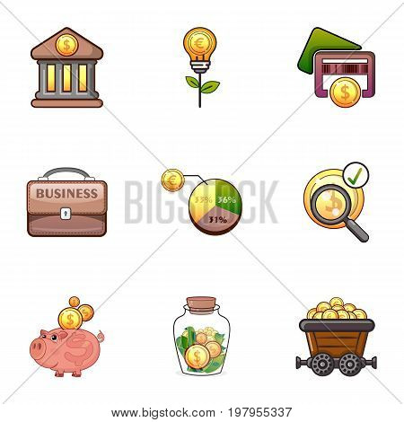 Money infographic icons set. Cartoon set of 9 money infographic vector icons for web isolated on white background