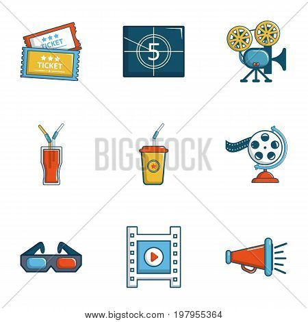 Cinema theater icons set. Cartoon set of 9 cinema theater vector icons for web isolated on white background