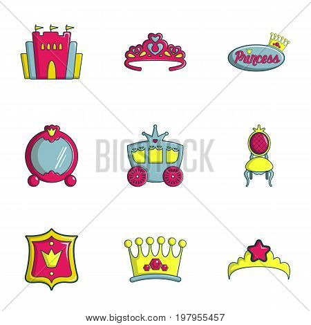 Princess things icons set. Flat set of 9 princess things vector icons for web isolated on white background