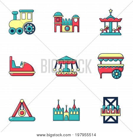 Funfair attractions icons set. Flat set of 9 funfair attractions vector icons for web isolated on white background