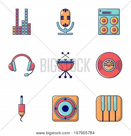 Sound producing icons set. Flat set of 9 sound producing vector icons for web isolated on white background
