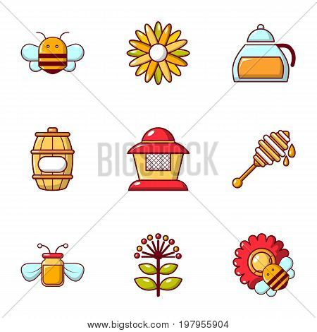 Beekeeping icons set. Flat set of 9 beekeeping vector icons for web isolated on white background