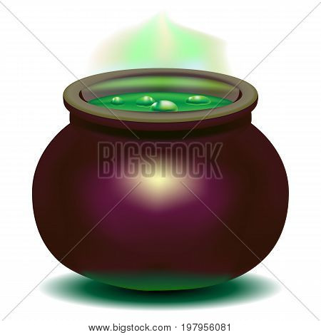 Beautiful bright vector illustration. Magic witch boiler with green potion. Pan
