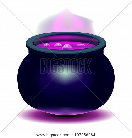 Beautiful bright vector illustration. Witches pot with a magical pink potion. Pan