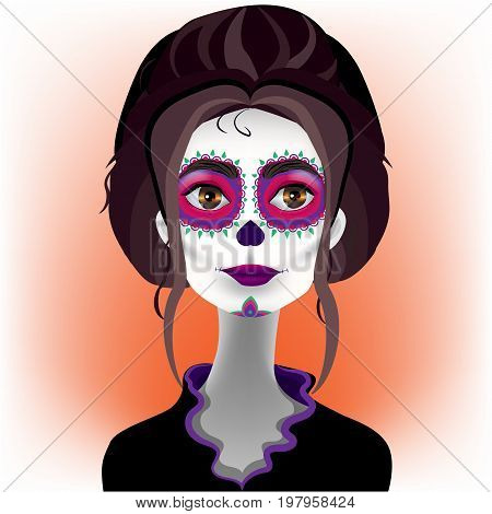 Bright vector illustration. The day of the Dead. Katrina. Halloween. Beautiful girl.