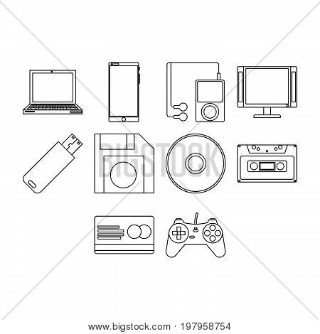 Collection of  new technology stuff icon vector