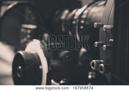 detail of Video camera viewfinder, film crew production, behind the scenes background