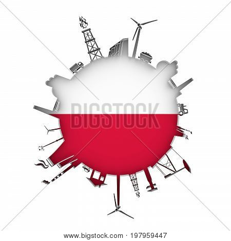 Circle with industry relative silhouettes. Objects located around the circle. Industrial design background. Flag of Poland in the center. 3D rendering.