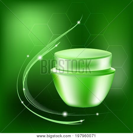 Vector cream jar with glares and light on the green background, illustration for cosmetology