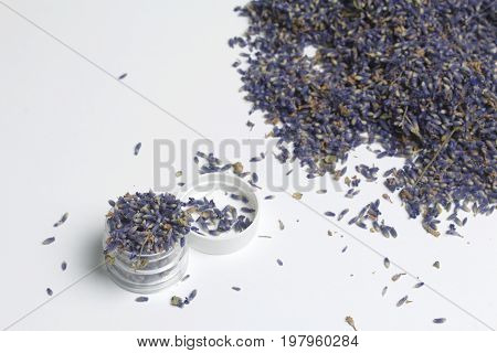 Dried Flowers Of Lavender. The Plastic Jar Is Filled With Dried Inflorescences Of Fragrant Lavender.