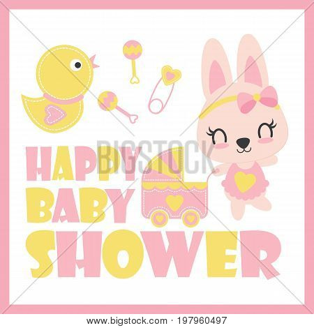 Cute baby bunny and baby cart vector cartoon illustration for baby shower card design, postcard, and wallpaper