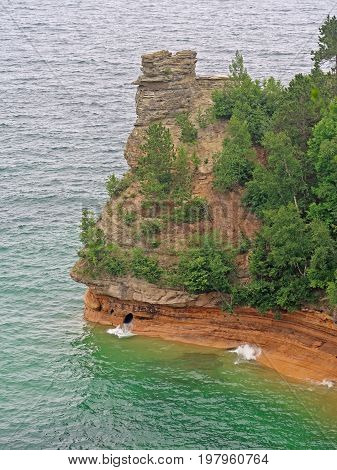 One of the most iconic rock formations in the Pictured Rocks National Lakeshore in Munising Michigan is Miners Castle. Located on Lake Superior it may be reached and viewed by boat or by car and a short walk.