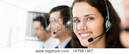 Smiling telemarketing customer service agents call center job concept - panoramic banner