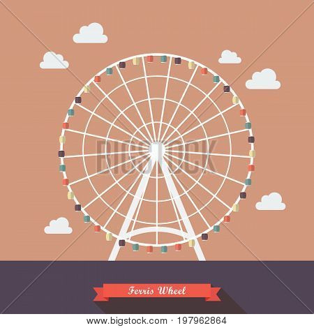 Ferris wheel vector illustration. Flat style design