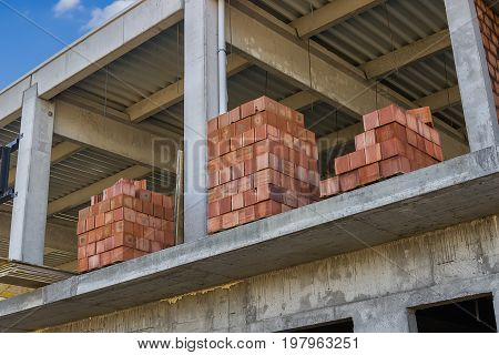 Stacked Red Hollow Clay Blocks For Building Block Walls