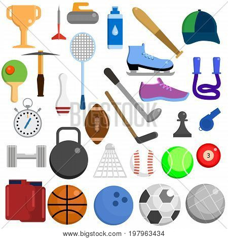Sports equipment elements collection, flat icons set, Colorful symbols pack contains - Basketball Tennis Football Soccer Rugby Hockey Baseball Volleyball Golf. Vector illustration. Flat style design