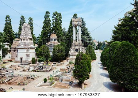 June 14th, 2017 - Milan, Lombardy, Italy. Monumental Cemetery in Milano, Italy, also known as Cimitero Monumentale di Milano. Tombs, crypts and obelisks at historic italian graveyard.