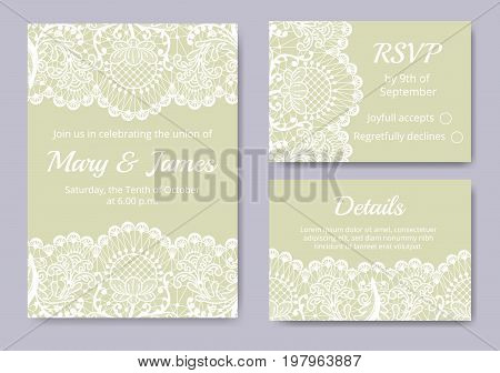 Template of wedding cards with lace border on green background