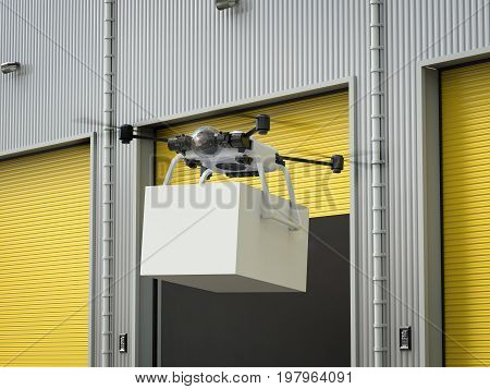 3d rendering delivery drone flying with box from warehouse