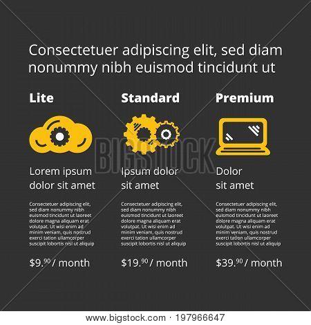 three tariffs price list for website on black background