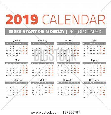 Simple 2019 year calendar, week starts on Monday