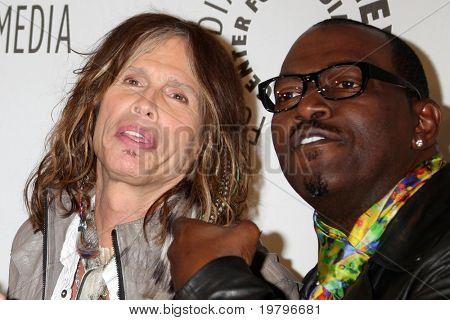 """LOS ANGELES - MAR 14:  Steven Tyler, Randy Jackson arriving at the """"American Idol"""" PaleyFest 2011 at Saban Theatre on March 14, 2011 in Beverly Hills, CA"""
