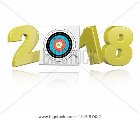 3D illustration of Achery Target with Arrow 2018 Design with a white Background