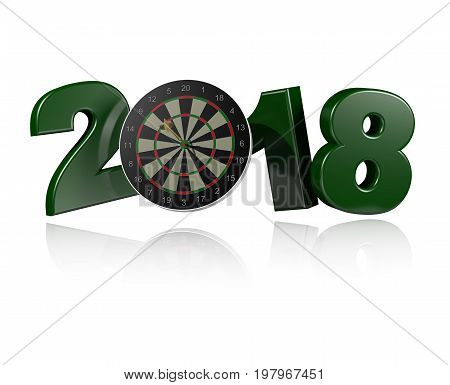 3D illustration of Dart in Target 2018 Design with a white Background
