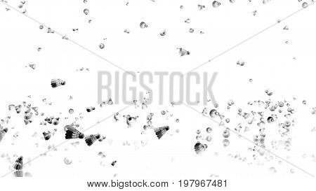 3D illustration of Many Badminton Shuttlecocks raining with a reflecting floor and a white background