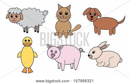 Animals set vector. Sheep cat dog pig rabbit duck.