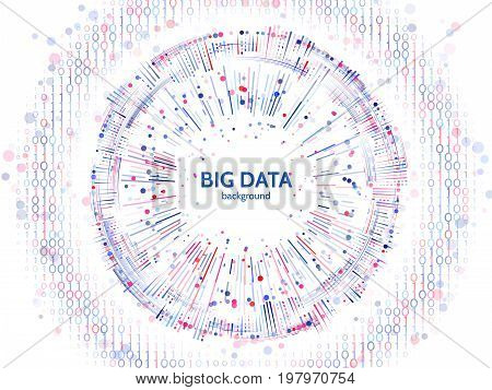 Big data connection structure. Abstract element with lines dots and binary code. Big data visualization. Futuristic infographic vector illustration.