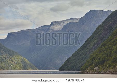 Norwegian fjord landscape. Cruise travel. Visit Norway. Outdoor tourism