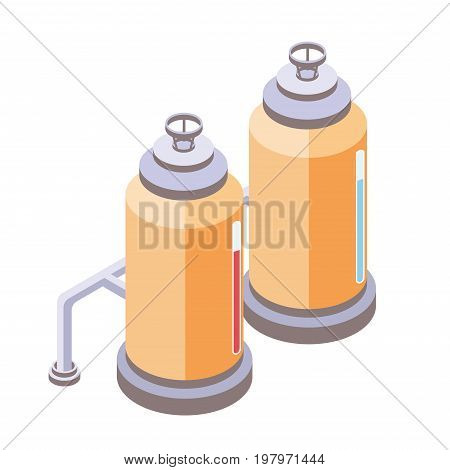 Yellow tanks for liquid with pipes, chemical or food industry. Vector illustration in isometric projection, isolated on white background.